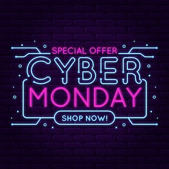 Offerta speciale al neon di design piatto cyber lunedì