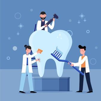 Illustrazione di concetto di cure odontoiatriche design piatto