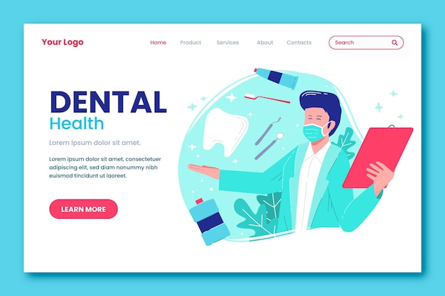 Modello di pagina di destinazione per cure odontoiatriche dal design piatto
