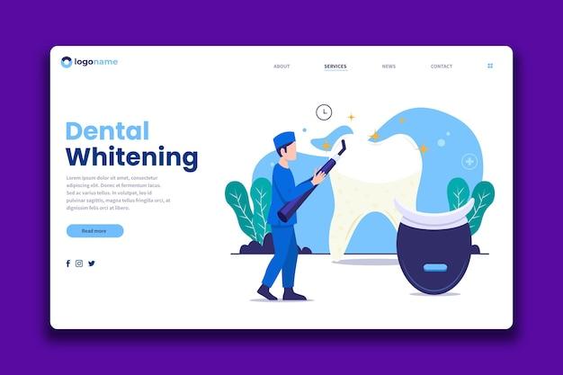 Pagina di destinazione per cure odontoiatriche dal design piatto