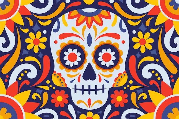 Sfondo di dia de muertos design piatto