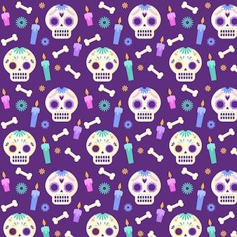 Modello dia de muertos design piatto