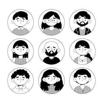 Pacchetto di icone di profilo diverso dal design piatto
