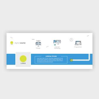 Corso digitale di design piatto per timeline facebook