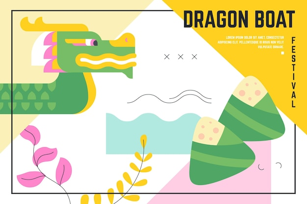 Design piatto drago barca sullo sfondo