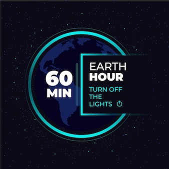 Flat design earth hour 60 minuti
