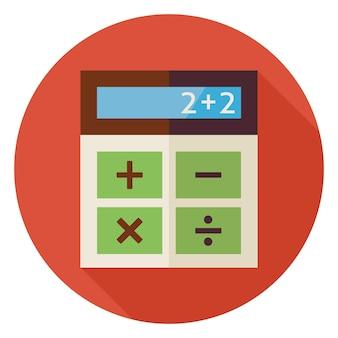 Flat design education e calcolatrice matematica. torna a scuola e istruzione illustrazione vettoriale. stile piatto calcolatrice colorato cerchio icona con una lunga ombra. studio e apprendimento business object.
