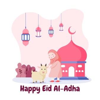 Design piatto eid mubarak con ragazza felice e capra