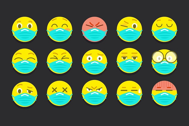 Emoji dal design piatto con maschere per il viso