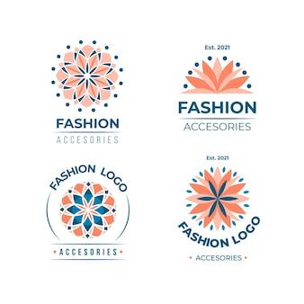 Pacchetto logo accessori moda design piatto