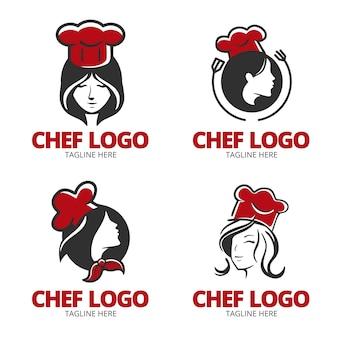 Collezione logo chef donna design piatto