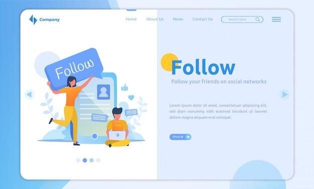 Il design piatto segue il modello di landing page dei social media