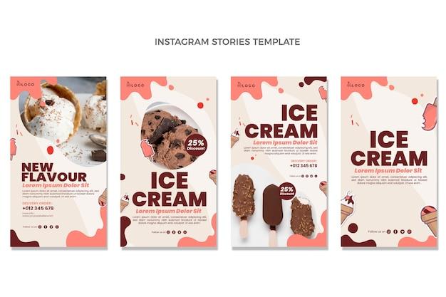 Design piatto di storie di cibo instagram Vettore Premium