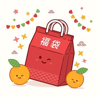 Illustrazione di fukubukuro design piatto
