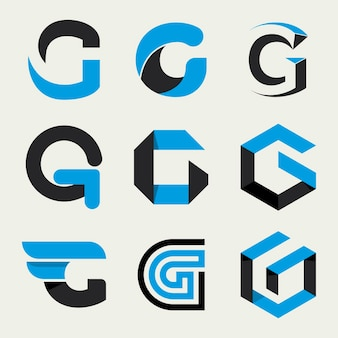 Pacchetto logo lettera g design piatto