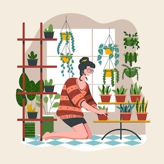 Illustrazione piana che fa il giardinaggio a casa illustrazione