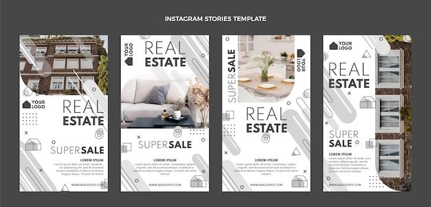 Storie di instagram immobiliari geometriche dal design piatto
