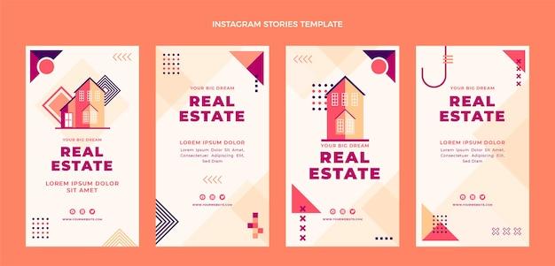 Design piatto di storie di instagram immobiliari geometriche
