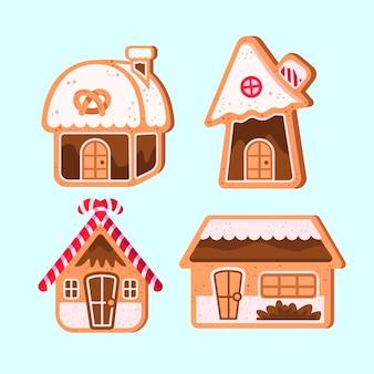 Collezione di case di marzapane design piatto