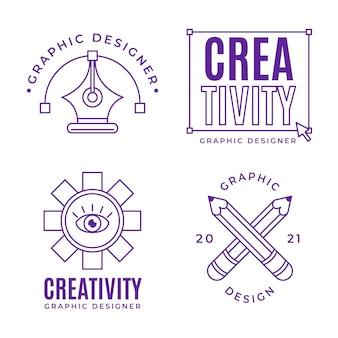 Collezione di logo graphic designer design piatto