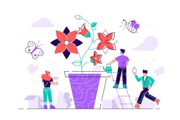 Concetto di stile grafico design piatto. le persone che coltivano vasi da fiori insieme. illustrazione di concetto. illustrazione di stile moderno design piatto per pagina web, carte, poster, social media.