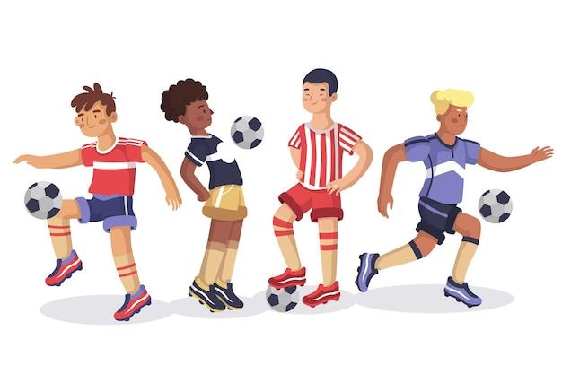 Gruppo di design piatto del gruppo di giocatori di calcio