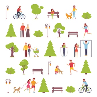 Design piatto di persone del gruppo all'aperto nel parco nel fine settimana.