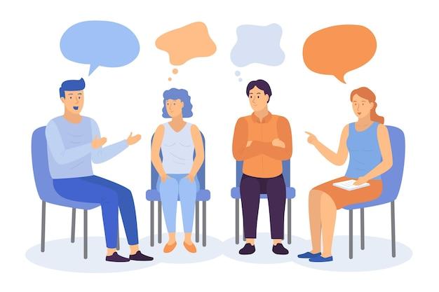 Illustrazione di terapia di gruppo design piatto