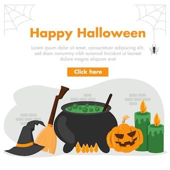 Banner design piatto di halloween