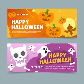 Set di banner di halloween design piatto