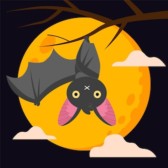 Pipistrello di halloween design piatto