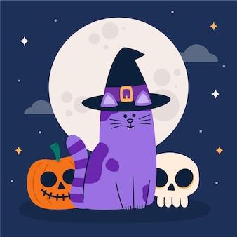 Gatto di halloween design piatto