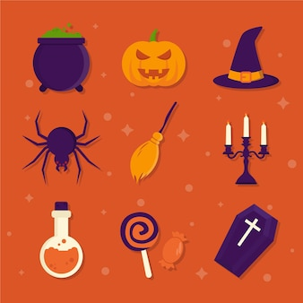 Collezione di elementi di halloween design piatto