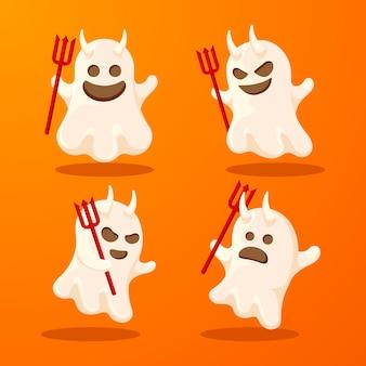 Pacchetto fantasma di halloween design piatto