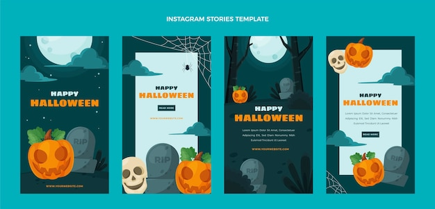 Storie di halloween ig design piatto
