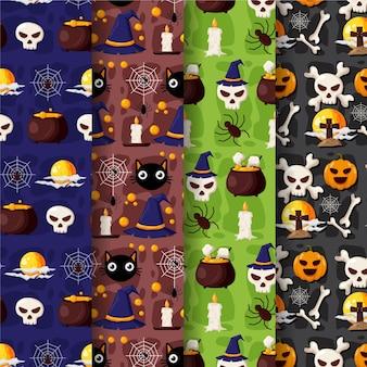 Set di modelli di halloween design piatto