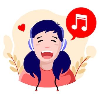 Design piatto ragazza felice musica illustrazione vettoriale