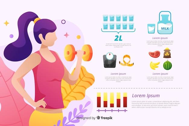 Modello di infographic di salute di design piatto