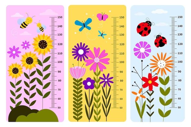 Confezione misuratore di altezza dal design piatto per bambini