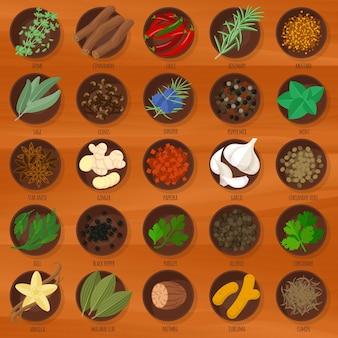 Set di icone di erbe e spezie design piatto