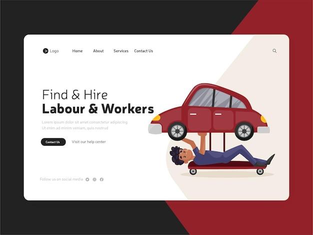 Design piatto della pagina di destinazione del lavoro assunto e dei lavoratori