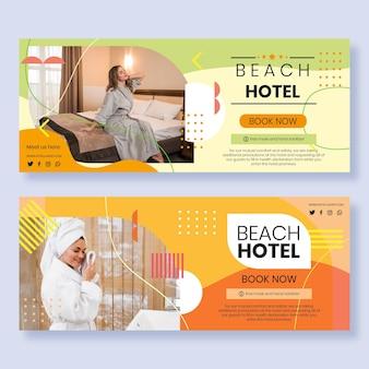 Banner hotel design piatto con foto