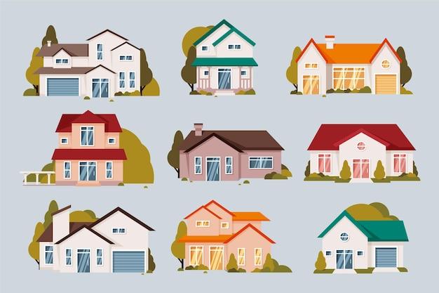 Collezione di case di design piatto