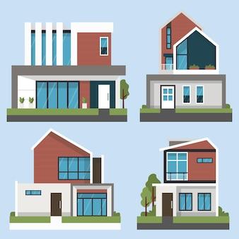 Pacchetto di illustrazione casa design piatto