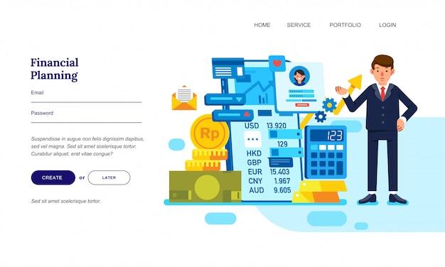 Illustrazione piana di progettazione di un uomo d'affari con pianificazione finanziaria