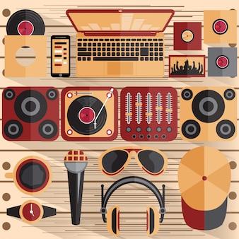 Illustrazione di design piatto di dj e tema musicale