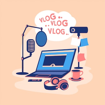 Concetto di video blogger illustrazione design piatto. crea contenuti video e guadagna. attrezzatura per video blogger