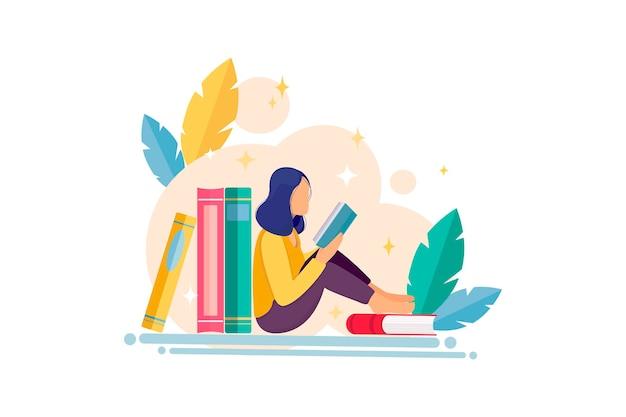 Illustrazione di design piatto con pile di libri che leggono ragazza ed elementi floreali concetto di lettura del libro