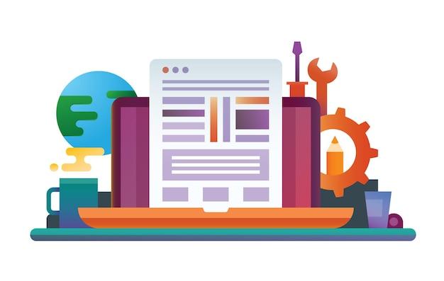 Illustrazione di design piatto con laptop, pagina web, posto di lavoro e strumenti