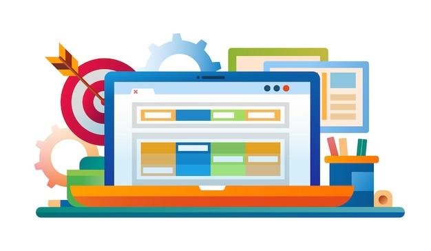 Illustrazione di design piatto con laptop, posto di lavoro, freccette